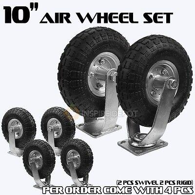 "4PCS 10"" Air Tire Pneumatic 2 Swivel Caster + 2 Rigid Wheels Cart Industrial HD"