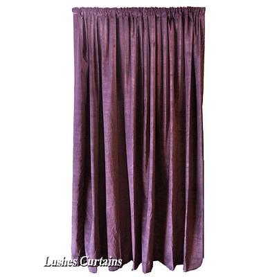 Purple Velvet Curtain Panel 10'H Long Theater Stage Sound Dampening Velour Drape Cotton Velour Drapery Panels