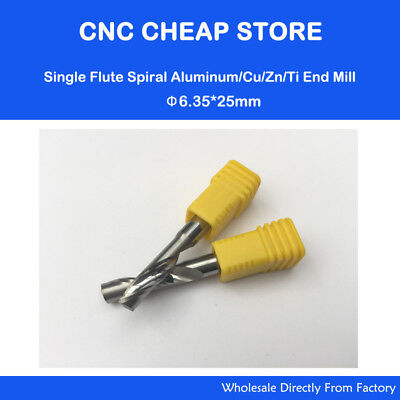 2pcs 14 6.35mm25mm Hq Carbide Cnc Router Bits Single Flute Tools Aluminum Cut