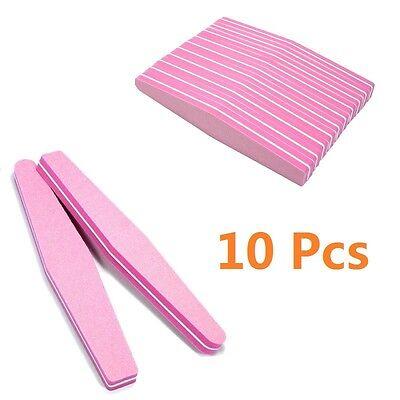 (10 X Nail Art Tips Buffer 100/180 Sandpaper Sanding Block Buffing File Pink New)