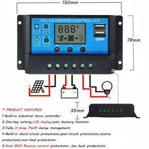 Solar Charge Controller 12V-24V LCD Display 2 USB 5V 30A $35