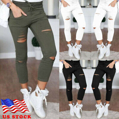 - Women Skinny Ripped Holes Jeans Pants High Waist Stretch Slim Pencil Trousers US