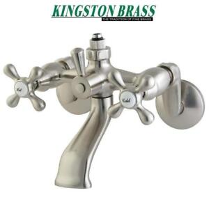NEW* KINGSTON VINTAGE TUB FAUCET CC2668 215450876 DOUBLE HANDLE WALL MOUNT BRUSHED NICKEL BATHROOM