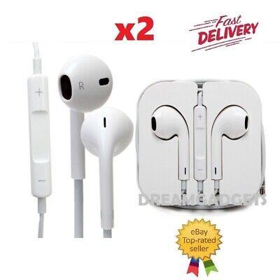 2 x New Earphones Headphones For Apple iPhone 6s 6 5c 5S 5SE iPad Handsfree UK