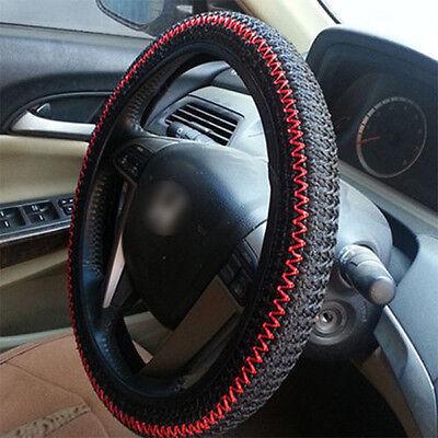 (Black  Red Elastic Ice Silk DIY Car Steering Wheel Cover Sets 38CM Decoration)