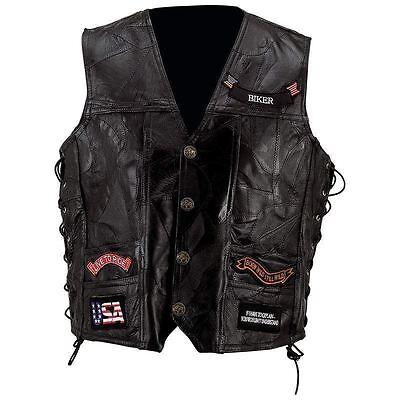 BLACK LEATHER VEST w/ 14 Patches Mens Genuine Motorcycle US Flag Eagle Biker MC Flag Leather Vest