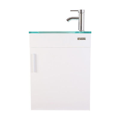 """19"""" Bathroom Vanity White Wall Mount Cabinet Glass Sink Faucet Drain Combo PTrap"""
