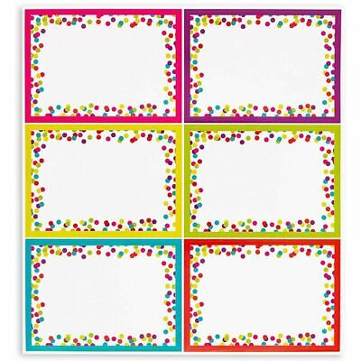 144 Pack Colorful Name Tag Stickers Labels Confetti for Classroom, 3.5 x 2.5 in.