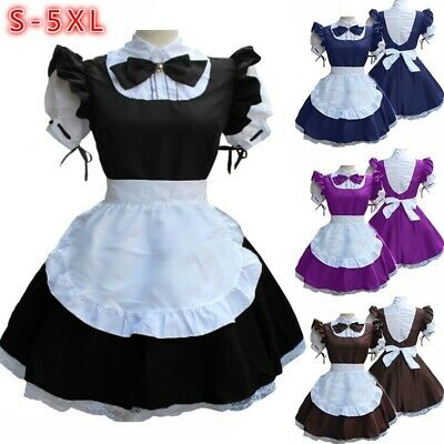 Cute Costumes For Womens (Women Short Sleeve Doll Collar Retro Maid Dress Cute French Maid Outfit)