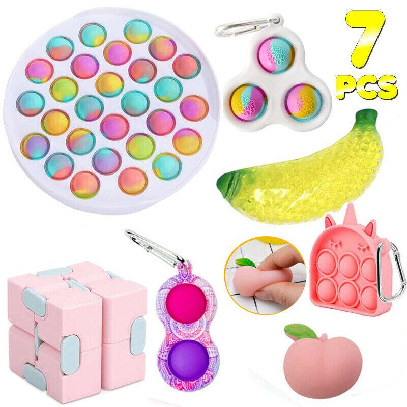 Kids Games 7Pack Sensory Simple Dimple Fidget Toys Set Stress Relief ADHD Autism