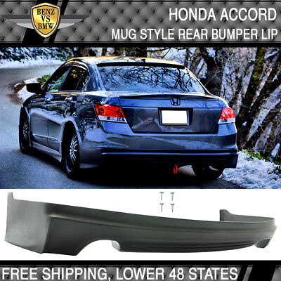Fits 08-12 Honda Accord Mugen Style Rear Bumper Lip Unpainted - PU Polyurethane