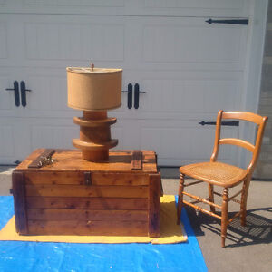 ANTIQUE TRUNK, Wood LAMP+ ANTIQUE CHAIRS+ Matching Lamps -