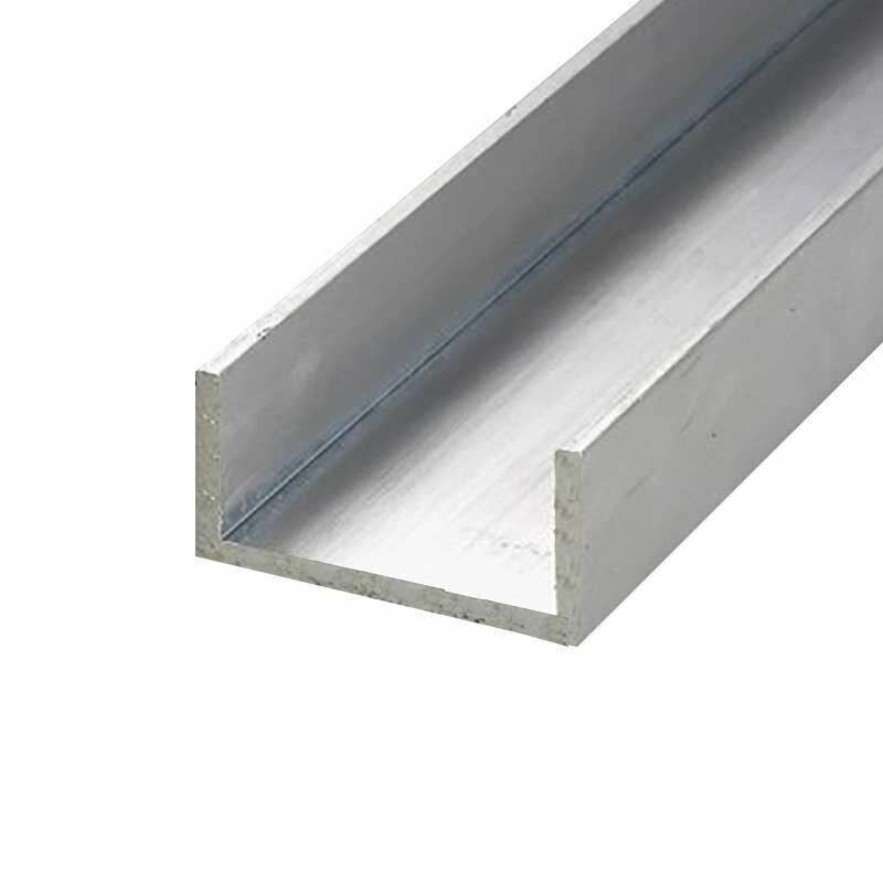 """6063-T52 Aluminum Channel, 1"""" x 1"""" x 1/8"""" x 12 inches"""