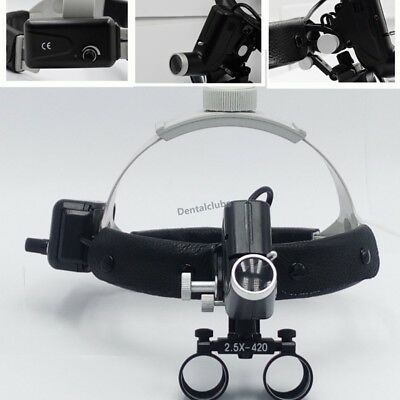 Dental Led Surgical Headlight 2.5x420mm Leather Headband Loupe With Light Dy-105