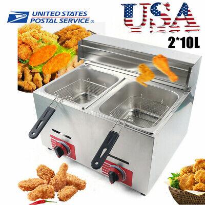 Commercial Stainless Steel Countertop Gas Fryer Deep Fryer Propanelpg 2 Basket