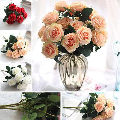 10 Köpfe Künstliche Rosen Blumen Seidenrosen Blumenstrauß Party Hochzeit Deko (Strauß Seidenblumen)
