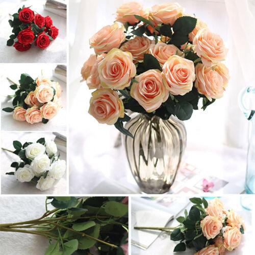 10 Köpfe Künstliche Rosen Blumen Seidenrosen für Haus Garten Party Hochzeit