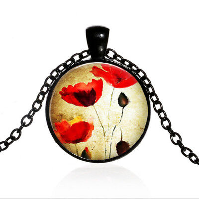 Red Flower Photo - Red Poppies Flower Black Dome glass Photo Art Chain Pendant Necklace #TUO453