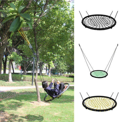 40'' Kids Outdoor Round Net Hanging Rope Nest Tree Swing Chi