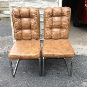 Vintage Retro Tufted Vinyl Chairs with Chrome Legs