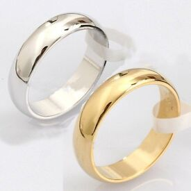 Stainless Steel Plain or Gold Polished Wedding Band Ring all sizes