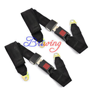 2 X Black Car Truck Adjustable Seat Belt Lap Belt Universal Two Point Safety