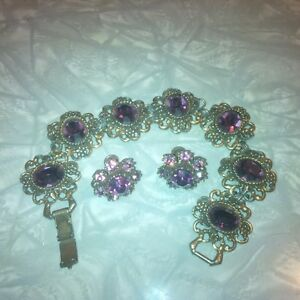 Vintage Coro bracelet and earrings set.