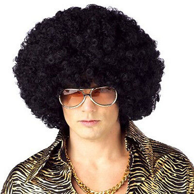Men's Or Women's 70s Disco Era Black Jumbo Afro Wig One Size With Wig Cap - Man With Wig
