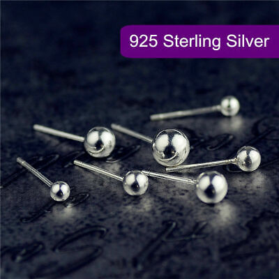 Genuine 925 Sterling Silver Solid Classic Ball Bead Earrings Ear Piercing Studs