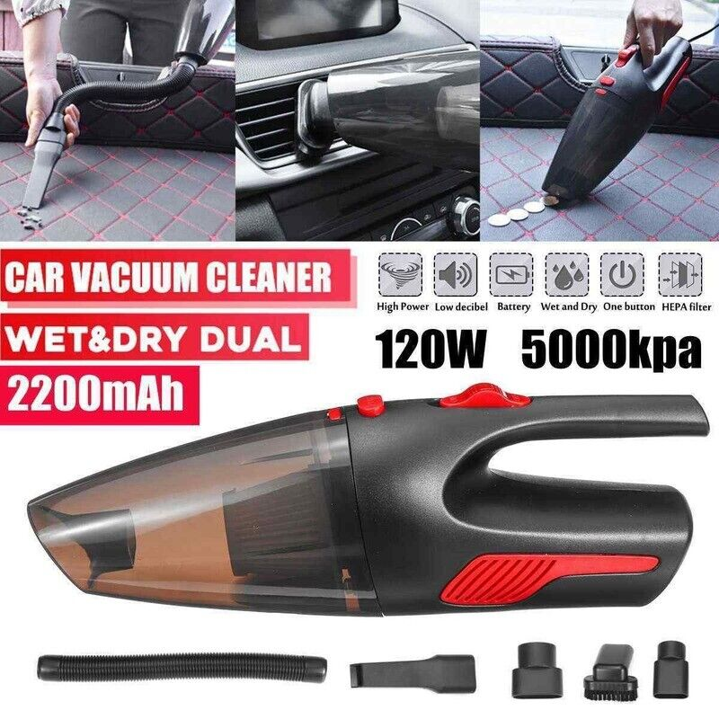 120W Cordless Car Vacuum Cleaner Auto Home Portable Wet Dry Handheld Wireless Home & Garden