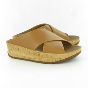 Ladies Fitflop Tan Leather Kys Cross Slide Sandals 37M