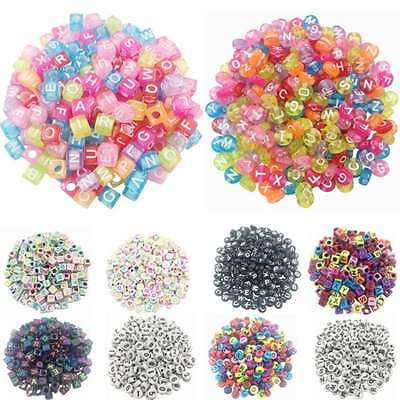 100Pcs Mixed Alphabet/Letter Round Acrylic Spacer Loose Beads Jewelry Making DIY