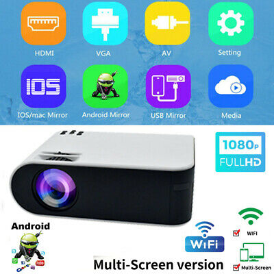 Portable Mini Projector WiFi Android  LED 1080P Home Theater Cinema HDMI VGA AV
