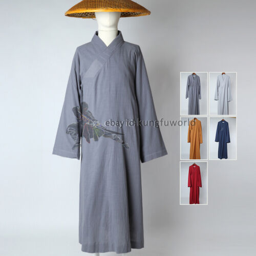 Summer Cotton Linen Buddhist Monk Robe Shaolin Kung fu Uniform Meditation Suit