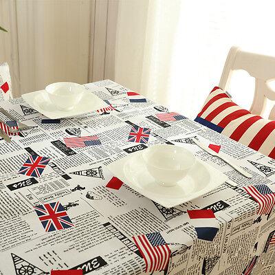 Union Jack Tablecloth (Cotton Linen Print English Paper Union Jack Tablecloth Cover Table Deco 803a)