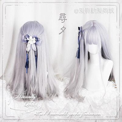 Purple Gradient Long Curly Hair Fairy Cosplay Wig Sweet Lolita Japan Harajuku S7