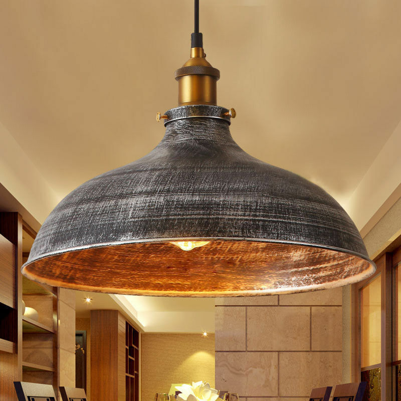 Aged Industrial Pendant Lamp Silver Shade Dome Chandelier