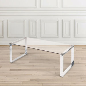 Glass Coffee Table With Stainless Steel Legs BRAND NEW IN BOX