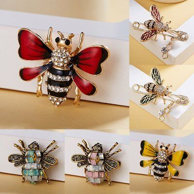 Women Crystal Rhinestone Bee Animal Insect Brooch Pin Costume Wedding Jewelry