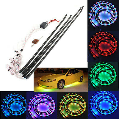 7 Colors 252 LED Under Car Glow Neon Lights Strip Kit + Cordless Remote Control