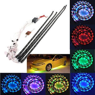 7 Colors 252 LED Under Car Glow Neon Lights Strip Kit + Cordless Remote Control