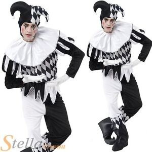 Adult Mens Harlequin Jester Clown Circus Fancy Dress Costume Halloween Outfit
