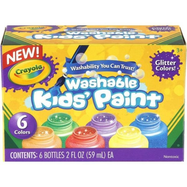 BNIB: Crayola Washable Glitter Paint, 2-Ounce, 6 Count
