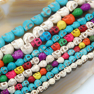 """Howlite Turquoise Carved Skull Loose Spacer Beads 16"""" Pick (Turquoise Beads)"""