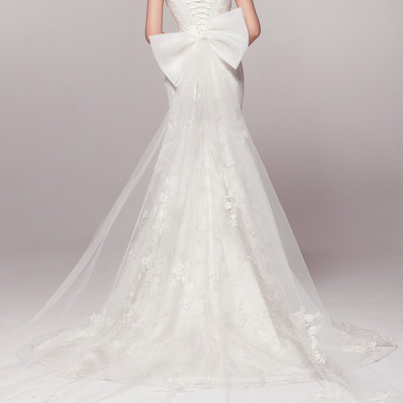 Wedding Dresses With Detachable Tail: White Or Ivory Detachable Wedding Dress Bow Train Tail