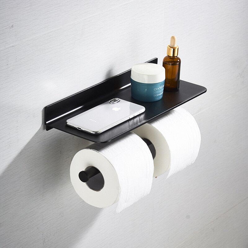 Black Double Toilet Paper Holder Modern