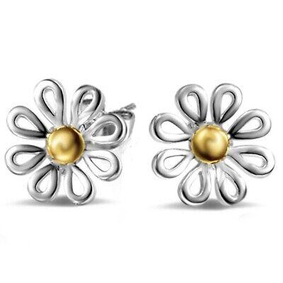 Frauen Daisy (Frauen Blume Daisy Sterling Silber Ohrstecker Ohrringe 1 Paar H3C7)