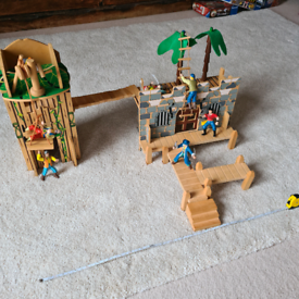 Pirate ship dock Castle Fort. Wooden with 7 pirates