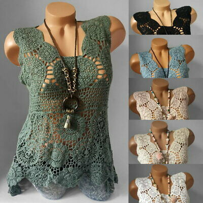 Häkel Vokuhila Top Netz Tunika High Low Strand Shirt Ärmellos* S M L-36 38 40 online kaufen