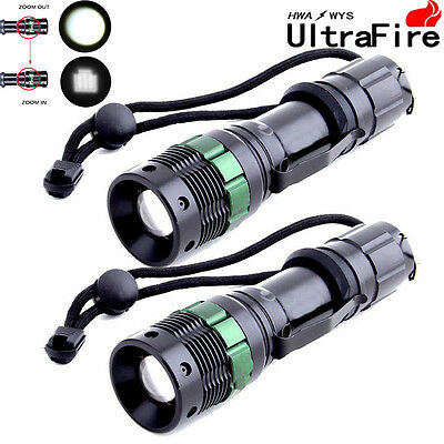 2x 10000LM Zoomable Ultrafire Tractical Focus CREE XM-L T6 LED Flashlight Power